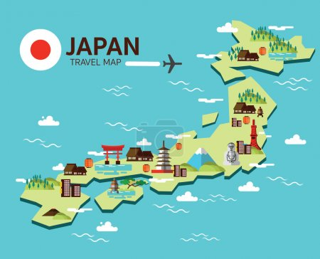 Illustration for Japan landmark and travel map. Flat design elements and icons. vector illustration - Royalty Free Image