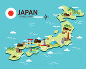 Japan landmark and travel map Flat design elements and icons vector illustration