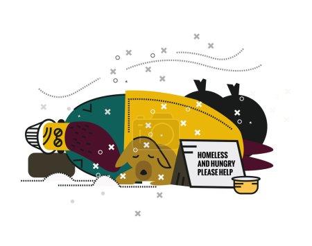 Illustration pour Chômage et sans-abri. caractère plat ligne mince. illustration vectorielle - image libre de droit