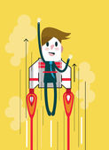 Flying businessman with jetpack Start up and Leadership concept