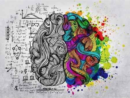 Photo pour Cerveau fragmentaire doodles quant à l'utilisation de la gauche et à droite - image libre de droit