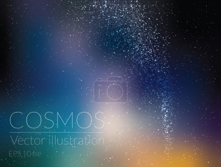Illustration for Vector illustration - beautiful night sky with stars and Milky Way - Royalty Free Image