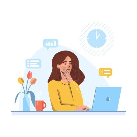 Illustration pour Femme mignonne regarder ordinateur portable. Concept d'enseignement à distance ou d'affaires en ligne. Illustration vectorielle dans un style plat - image libre de droit