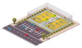 Vector Isometric Basketball Field