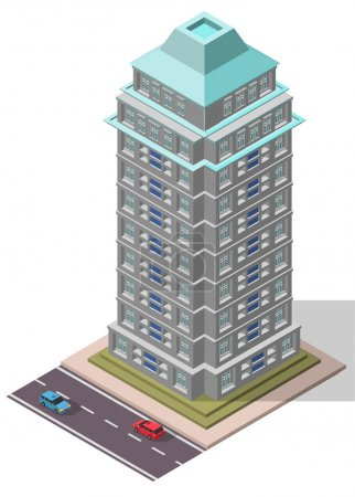 Vector Isometric Office Workplace Building