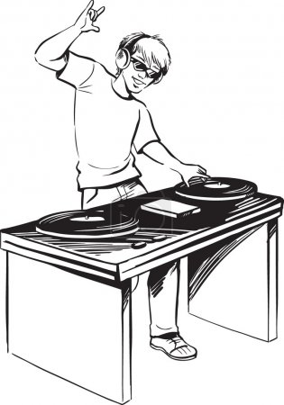 Disc jockey mixing music