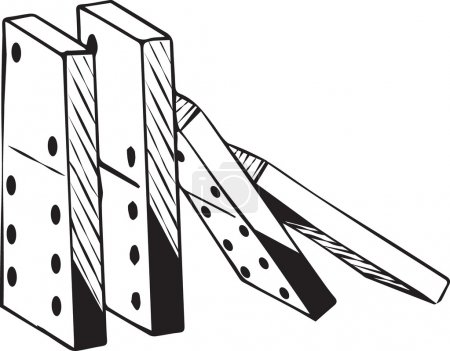 Illustration for Dominoes collapsing falling down from the righthand side beginning the domino effect, black and white hand-drawn doodle illustration - Royalty Free Image