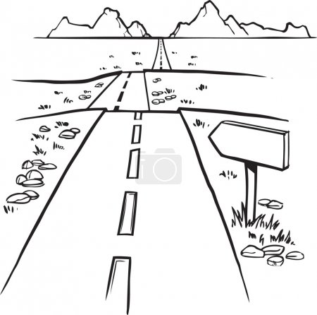 Illustration for Black and white hand drawn sketch of a straight road disappearing into the distance over a series of undulations with a blank roadsign in the foreground - Royalty Free Image