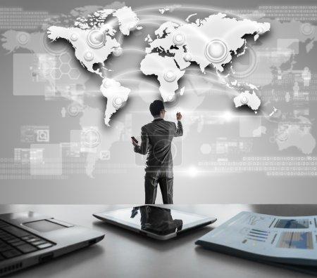 Businessman pressing on digital virtual screen, globalization ma