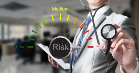 Photo for Business man with stethoscope, risk management concept - Royalty Free Image