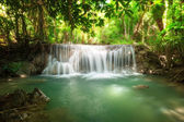 Deep forest waterfall at Huay Mae Kamin waterfall National Park