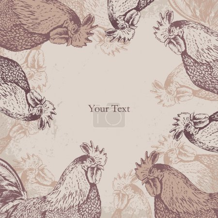 hand-drawn vector vintage style background with roosters