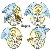 Set of Four Lovely Cartoon Style Angels