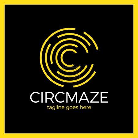 Círculo de laberinto Logo - letra C