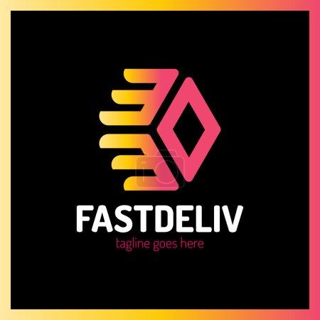 Fast Delivery Logo. Hexa Arrow Logotype...