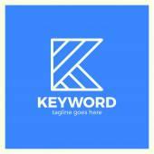 Keyword Logo Letter K Three Line Logotype Blue Background