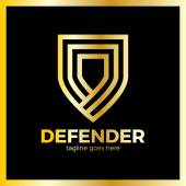 Line Shield Logotype Three Outline Defense Logo Luxury royal metal gold