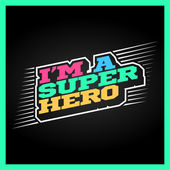 Super hero power full typography t-shirt graphics vectors Superhero retro text emblem