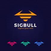 Line Bull Logo Buffalo head silhouette Vector bull logo template