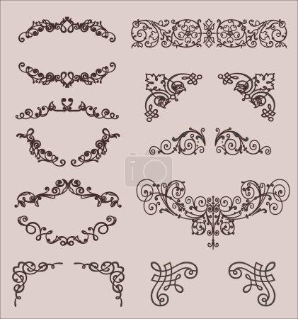Photo pour Set : éléments de design calligraphique et décoration de page, Garantie Qualité Premium et Satisfaction Collection Label avec fleurs gravées vintage - image libre de droit