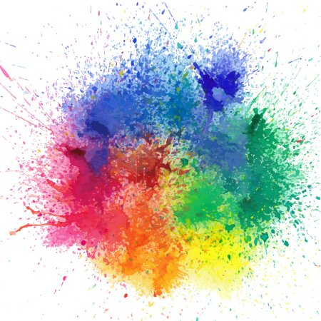 Illustration for Background with colorful spots and sprays on a white. Vector illustration - Royalty Free Image