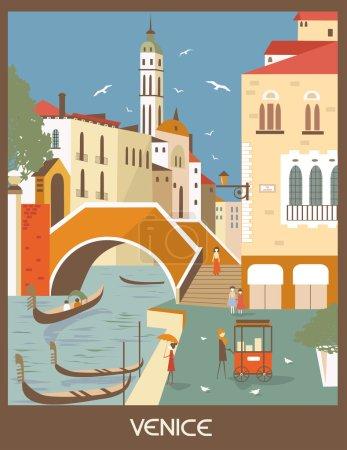 Gondolas in Venice in sunny day
