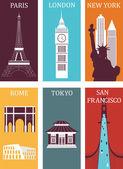 Famous cities Paris London New York Rome Tokyo San Francisco Vector  illustration