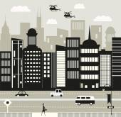 Helicopters over the New York city Vector illustration