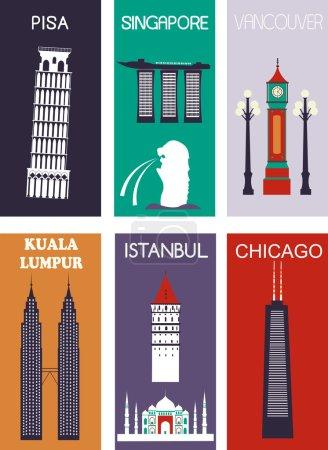 Photo pour Ensemble de villes célèbres. Vecteur - image libre de droit