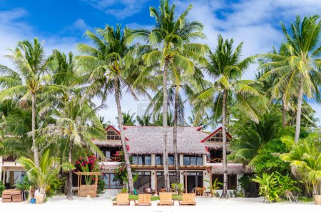 Luxury villa and palm trees around at beautiful exotic white sandy beach