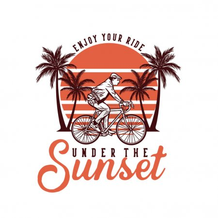 Illustration for T shirt design enjoy the ride under the sunset wit man riding bicycle vintage illustration - Royalty Free Image