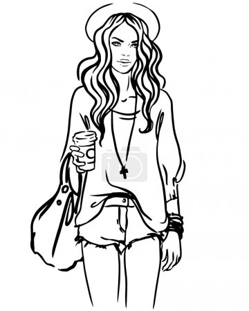 Illustration for Urban street style: Pretty hipster girl  holding coffee cup portrait isolated on white background, sketchy style fashion vector illustration - Royalty Free Image