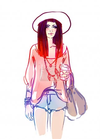 Illustration for Urban street style: Pretty hipster girl with red hair holding coffee cup portrait isolated on white background, sketchy style fashion vector illustration - Royalty Free Image