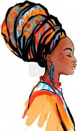 Illustration for Portrait of beautiful African woman in turban (profile view) - Royalty Free Image