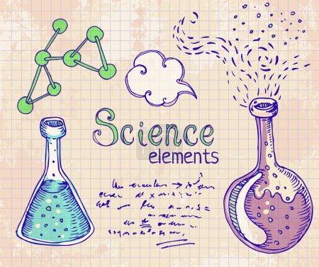 Illustration for Back to School: science lab objects doodle vintage style sketches set, vector illustration. - Royalty Free Image