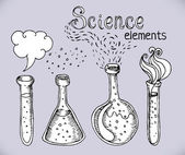 Back to School: science lab objects doodle vintage style sketches set vector illustration