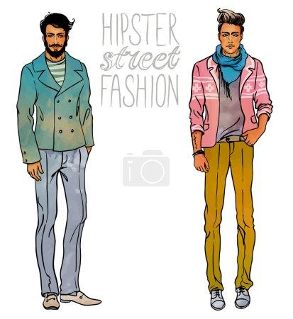 Hipster fashion trendy men.