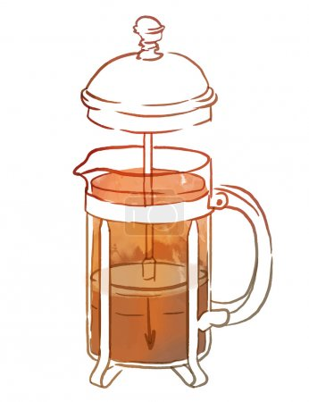 French press with coffee or tea, watercolor illust...