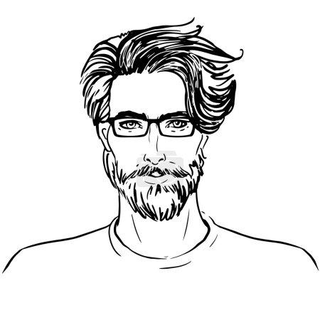 Illustration pour Hipster. Vecteur d'un visage d'homme avec barbe - image libre de droit
