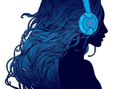 DJ girl with long hair in headphones