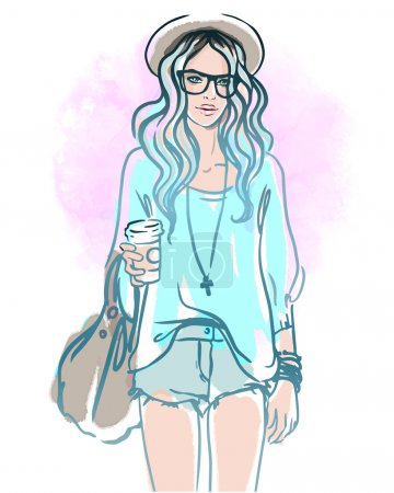 Illustration for Urban street style: Pretty hipster girl with blue hair holding coffee cup portrait isolated on white background, sketchy style fashion vector illustration - Royalty Free Image