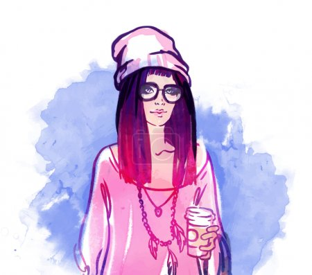 Illustration for Urban street style: Pretty hipster girl with pink hair holding coffee cup portrait isolated on white background, sketchy style fashion vector illustration - Royalty Free Image
