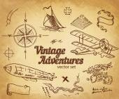 Vintage Adventures: vector set Design elements
