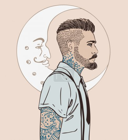 Illustration pour Portrait d'homme barbu de mode élégant. Illustration vectorielle . - image libre de droit