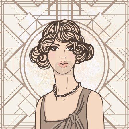 Illustration for Flapper sketch : Pretty girl,  illustration. - Royalty Free Image