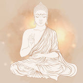 Sitting Buddha over light background