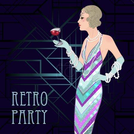 Retro party invitation design template.