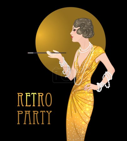 Illustration pour Flapper girl: Retro party invitation design template. Vector illustration. - image libre de droit