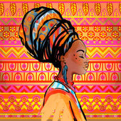 Portrait of beautiful African woman in turban (profile view)