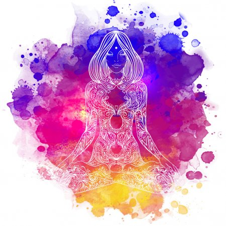 Illustration for Woman ornate silhouette sitting in lotus pose. Meditation concept. Vector illustration. Over colorful watercolor background. - Royalty Free Image